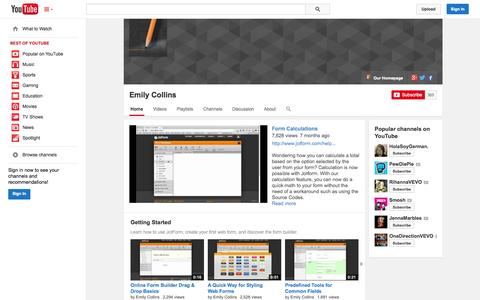 Screenshot of YouTube Page youtube.com - Emily Collins  - YouTube - captured Oct. 23, 2014