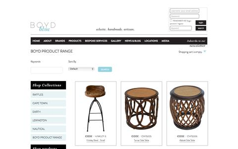 Screenshot of Products Page boydblue.com - Boyd Product Range - captured Jan. 7, 2016