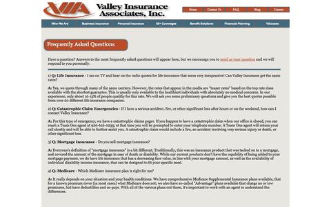 Screenshot of FAQ Page viainsurance.com - Insurance FAQs - Valley Insurance Associates, Inc. - captured Oct. 27, 2014