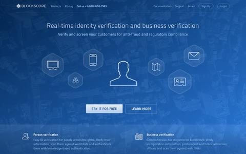 Screenshot of Home Page blockscore.com - Intelligent Identity Verification - BlockScore - captured Nov. 20, 2015