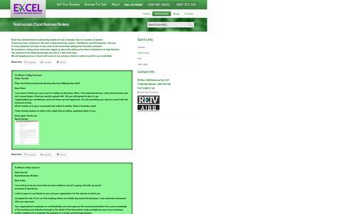 Screenshot of Testimonials Page excelbbs.com.au - Testimonials | Excel Business Brokers - captured Nov. 12, 2016