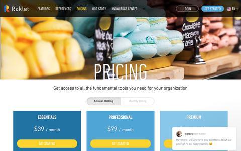 Screenshot of Pricing Page raklet.com - Raklet says... - captured May 4, 2017