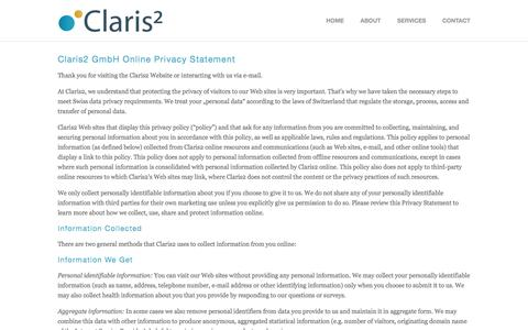 Screenshot of Privacy Page claris2.com - Privacy — Claris2 - captured May 18, 2017