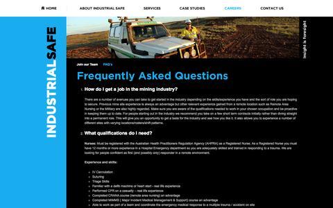 Screenshot of FAQ Page industrialsafe.com.au - FAQ - Industrial Safe. Insight is foresight - captured Oct. 6, 2014