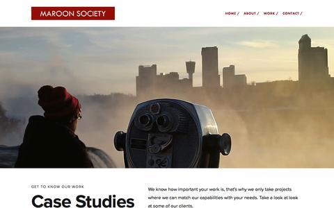 Screenshot of Case Studies Page maroonsociety.com - Work / — Maroon Society - captured Nov. 27, 2016