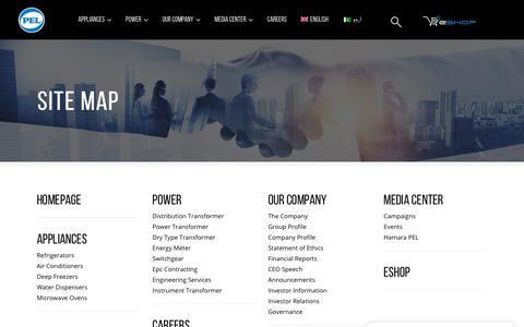 Screenshot of Site Map Page pel.com.pk - PEL     Site Map - captured Nov. 8, 2018