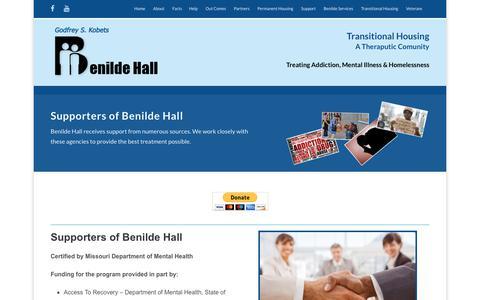Screenshot of Support Page benildehall.org - Support – Benilde Hall Program - captured Aug. 1, 2018