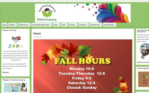 Screenshot of Hours Page hazel-park.lib.mi.us - Hours » Hazel Park Memorial District Library - captured Sept. 27, 2018