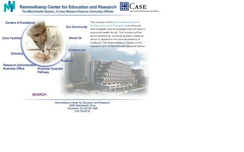 Screenshot of Home Page metrohealthresearch.org - Rammelkamp Center for Education and Research, MetroHealth Campus, Case  Western Reserve University - captured June 18, 2016