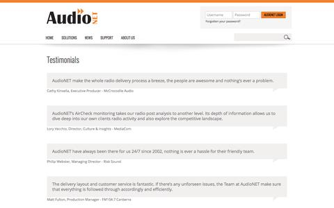 Screenshot of Testimonials Page audionet.com.au - AudioNET - We Deliver - captured Oct. 4, 2014