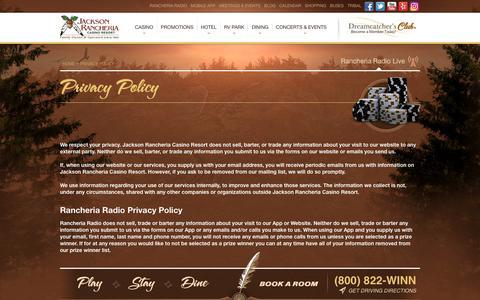 Screenshot of Privacy Page jacksoncasino.com - Privacy Policy - Jackson Rancheria Casino Resort - captured Sept. 23, 2018