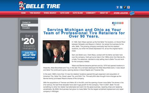 Screenshot of About Page belletire.com - History of Belle Tire | Michigan Tire | Ohio Tire | Tire Discounters - captured Sept. 25, 2014