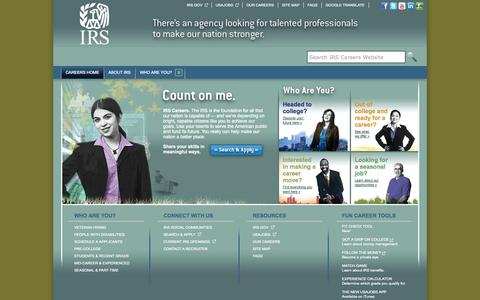 Screenshot of Jobs Page irs.gov - IRS Careers - captured Sept. 19, 2014