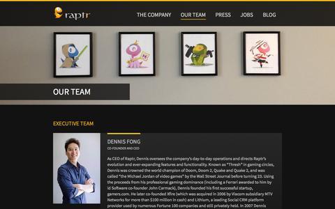Screenshot of Team Page raptr.com - Our Team | Raptr - captured Oct. 28, 2014