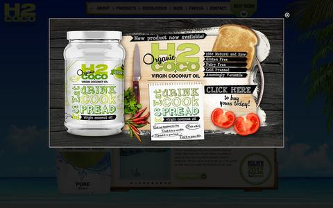 Screenshot of Home Page h2coconut.com - H2Coco Pure Coconut Water | Fat-Free, No Added Sugar, All-Natural - captured Oct. 1, 2014