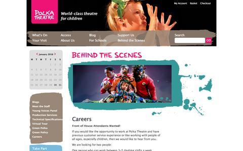 Screenshot of Jobs Page polkatheatre.com - Polka Theatre - World-class theatre for children - captured Jan. 29, 2016