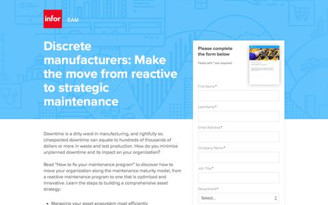 Screenshot of Landing Page infor.com - Discrete manufacturers: Make the move from reactive to strategic maintenance - captured April 14, 2018