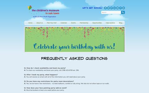 Screenshot of FAQ Page cmoaklawn.org - Frequently Asked Questions - Children's Museum in Oak Lawn - captured Nov. 5, 2016