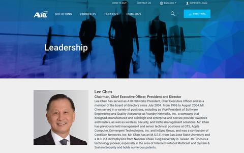 Screenshot of Team Page a10networks.com - Leadership Team   A10 Networks - captured May 22, 2019