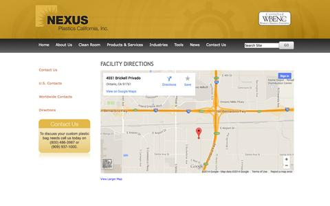 Screenshot of Maps & Directions Page nexuscalifornia.com - Directions - captured Oct. 26, 2014