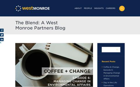 Screenshot of Blog westmonroepartners.com - The Blend: A West Monroe Partners Blog - Customer Experience, Mergers & Acquisitions, Operations Excellence, Performance Services and Advanced Analytics - captured Sept. 7, 2017