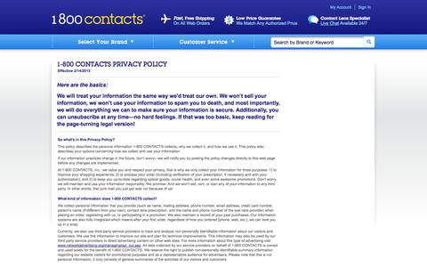 Screenshot of Privacy Page 1800contacts.com - Privacy Policy | 1-800 CONTACTS - captured Sept. 18, 2014