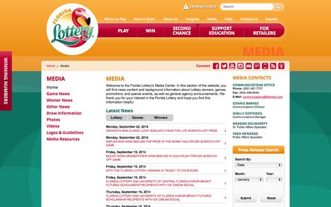 Screenshot of Press Page flalottery.com - Florida Lottery - Media - captured Sept. 18, 2014