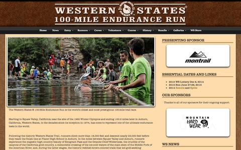 Screenshot of Home Page wser.org - Western States Endurance Run - captured Sept. 19, 2014