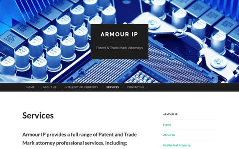 Screenshot of Services Page armourip.com.au - Armour IP Services include range of Patent & Trade Mark - captured Nov. 4, 2018