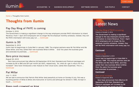 Screenshot of Press Page ilumin.co.nz - Thoughts from ilumin - ilumin Accountants - captured Oct. 13, 2018