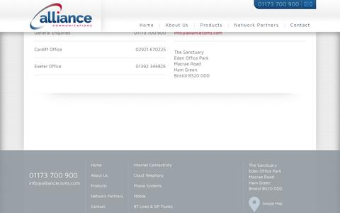 Screenshot of Contact Page alliancecoms.com - Contact - Alliance Communications - captured Oct. 8, 2017