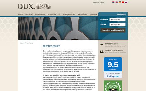 Screenshot of Privacy Page hoteldux.nl - Privacy Policy - Hotel-Brasserie Dux - captured July 22, 2018