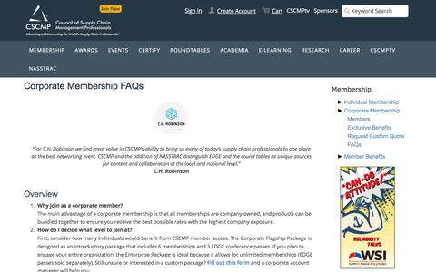 Screenshot of FAQ Page cscmp.org - Corporate Membership FAQs - captured Dec. 7, 2019