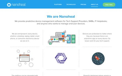 Screenshot of About Page nanoheal.com - About Us - Nanoheal - captured March 8, 2017
