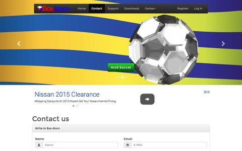 Screenshot of Contact Page boxatom.com - Box Atom - Contact Us - captured July 30, 2016