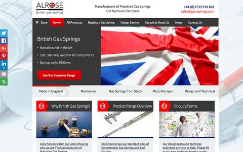 Screenshot of Home Page gas-springs.com - Alrose British Gas Springs and Gas Struts - captured Nov. 20, 2016