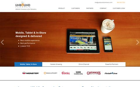 Screenshot of Home Page unboundcommerce.com - Mobile Commerce for Retailers - Unbound Commerce Inc. - captured Sept. 22, 2014