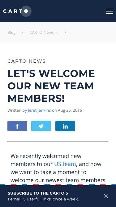 Screenshot of Team Page  carto.com - Let's Welcome our New Team Members! — CARTO Blog