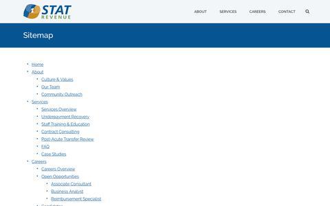 Screenshot of Site Map Page statrev.com - Sitemap - STAT Revenue - captured Sept. 30, 2017