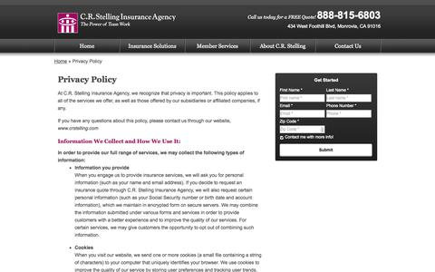 Screenshot of Privacy Page crstelling.com - Privacy Policy | C.R. Stelling Insurance Agency of Monrovia California - captured Oct. 1, 2014