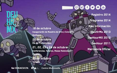 Screenshot of Home Page devhr.mx - DEVHR.MX: IV Foro Internacional del Videojuego - Ciudad de México. - captured Oct. 5, 2014