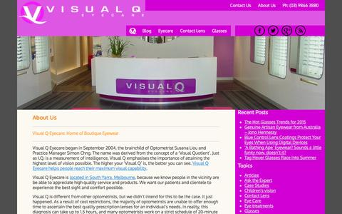 Screenshot of About Page visualq.com.au - About Us - Visual Q Eyecare - captured Feb. 15, 2016