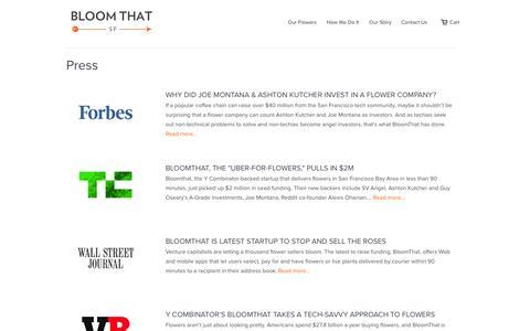 Screenshot of Press Page bloomthat.com - Press | BloomThat - captured Sept. 13, 2014