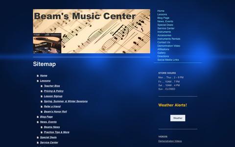 Screenshot of Site Map Page beamsmusicstudio.com - Music Lessons & Instrument Rentals in Ephrata, PA - captured Dec. 30, 2015