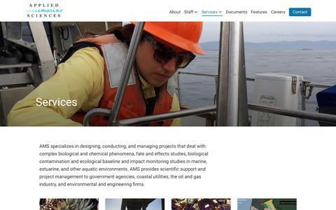 Screenshot of Services Page amarine.com - Services Archive - Applied Marine Sciences, Inc. - captured June 14, 2018