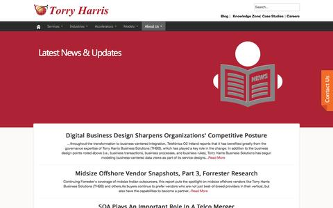 Screenshot of Press Page thbs.com - News & Updates - Torry Harris Business Solutions - captured Sept. 25, 2014