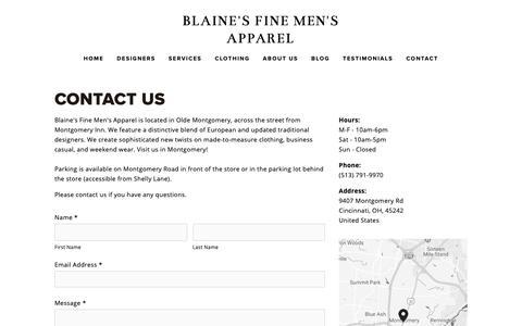 Screenshot of Contact Page blainesapparel.com - Home - Contact Us — Blaine's Fine Men's Apparel - captured Nov. 13, 2018