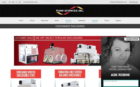 Screenshot of Products Page flowsciences.com - Containment Enclosures - Flow Sciences - captured Oct. 14, 2017