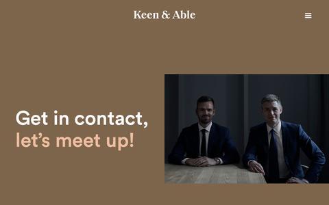 Screenshot of Contact Page keenandable.com - Contact - captured Oct. 15, 2018