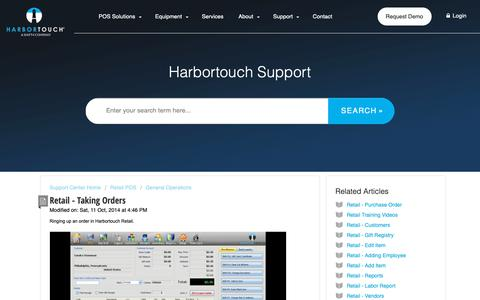 Screenshot of Support Page harbortouch.com - Retail - Taking Orders : Harbortouch Support Center - captured Oct. 9, 2018